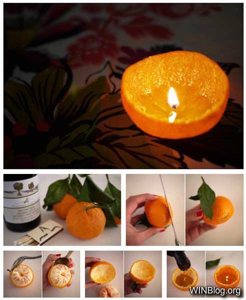 اصنع مصباحك من زيت الزيتوت ونصف برتقالة