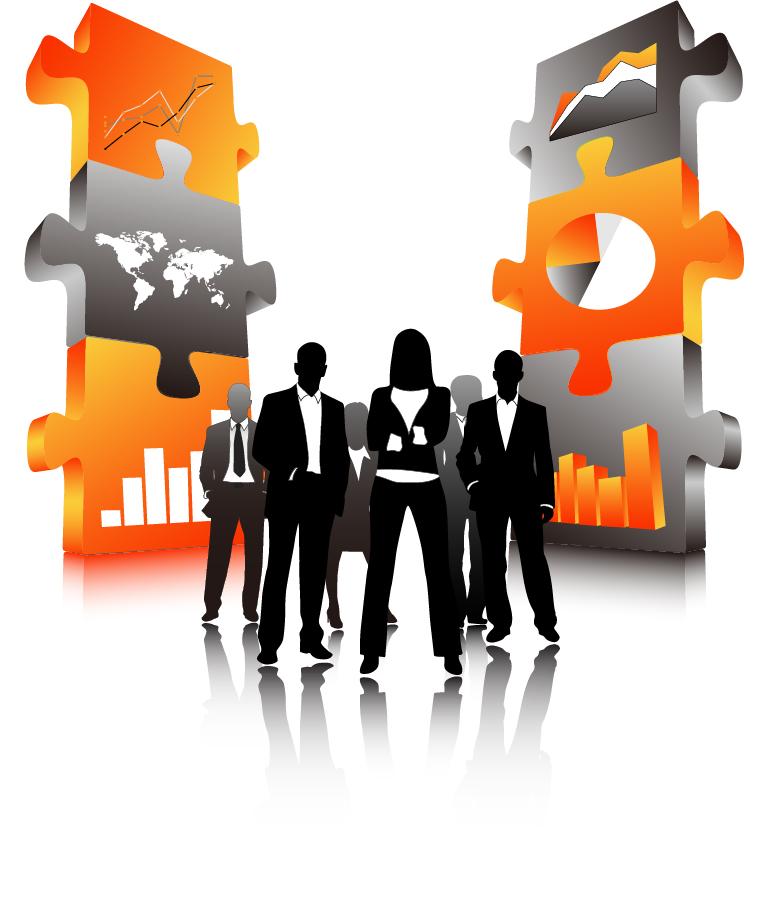 ビジネスマンのシルエットを描いた背景 Business people illustrations イラスト素材2