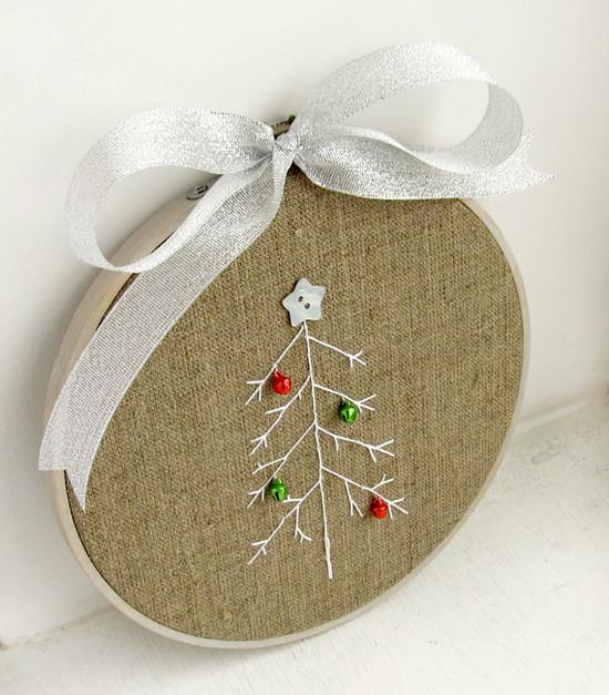Christmas hoop art, новогодний декор