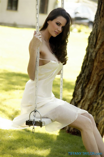 Tiffany Taylor on swing stripping white dress