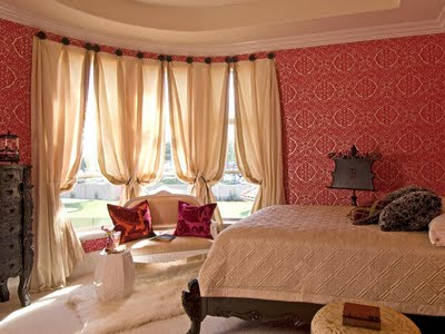 Decor for Red bedroom wallpaper