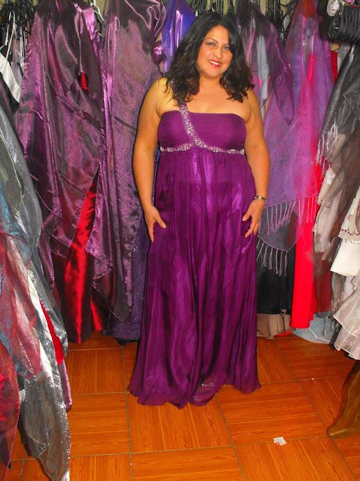 vestido corte imperio talla 44 color arandano