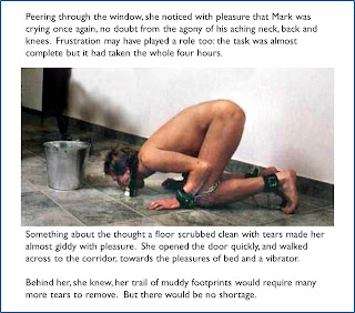 captioned image of slave scrubbing floor