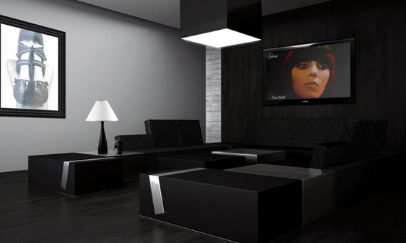 modern house great designs of living room with black color