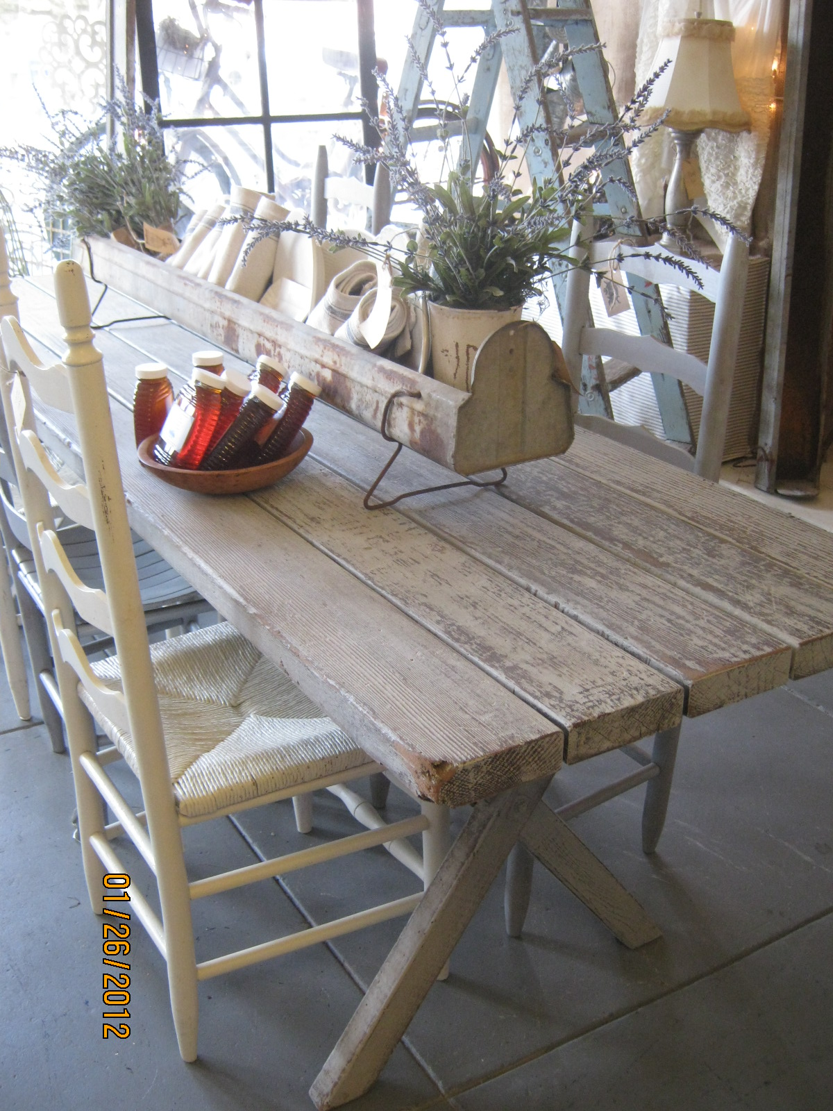 Painted ladder back chairs -  Fabulous Picnic Table Turned Farm Table Assorted Ladder Back Chairs Priced Separately