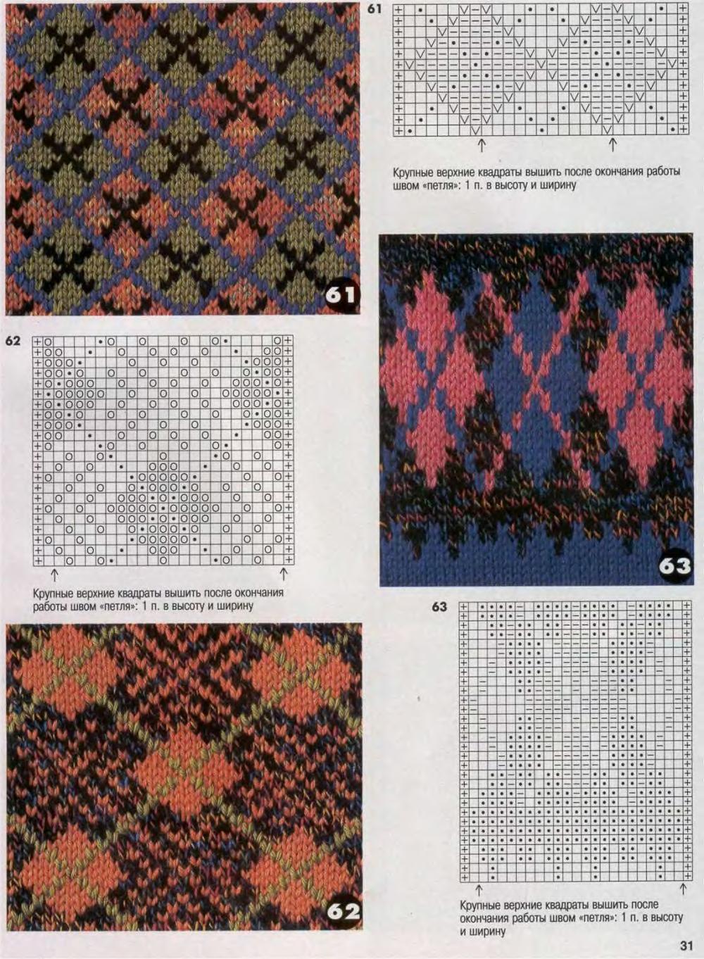 Узоры для вязания спицами с цветными 413