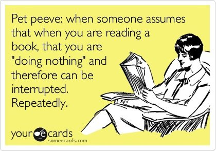 "Pet peeve: When someone assumes that when you are reading a book, that you are ""doing nothing"" and therefor can be interrupted. Repeatedly."