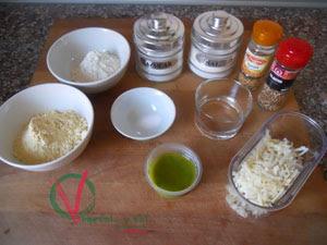 Ingredientes para las galletas saladas de queso manchego y pesto.