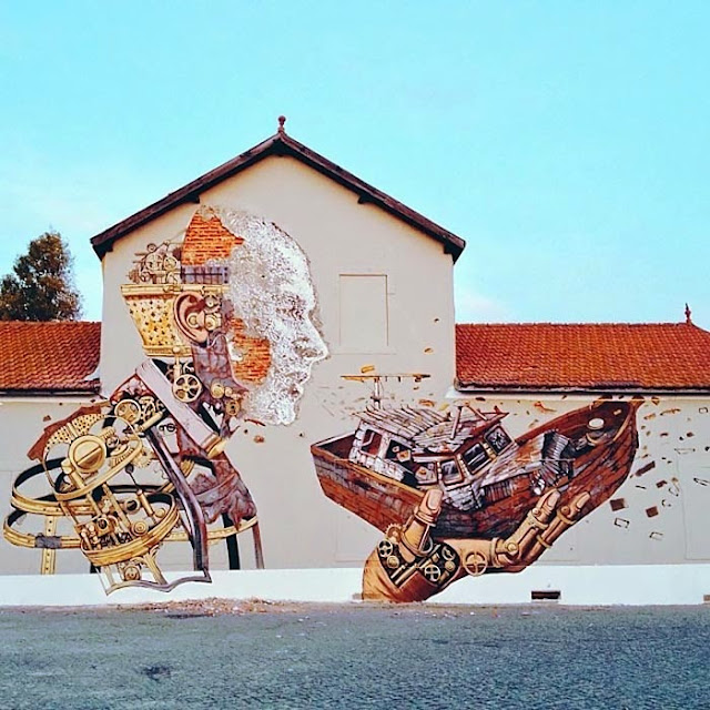 Street Art Collaboration By Vhils and Pixel Pancho On The Streets Of Lisbon, Portugal. 4