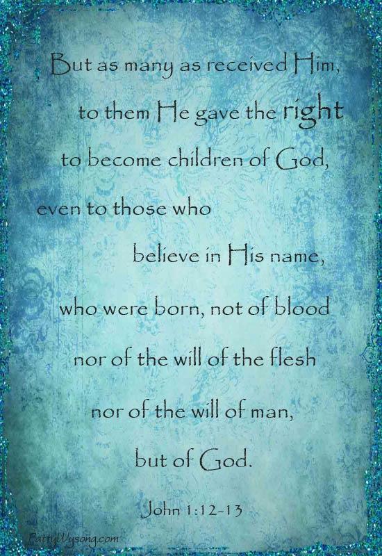 Patterings: Bible Memory Verse: John 1:12-13