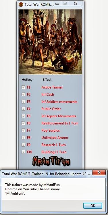 Total War ROME II  Trainer +9  for Reloaded update #2  MrAntiFun