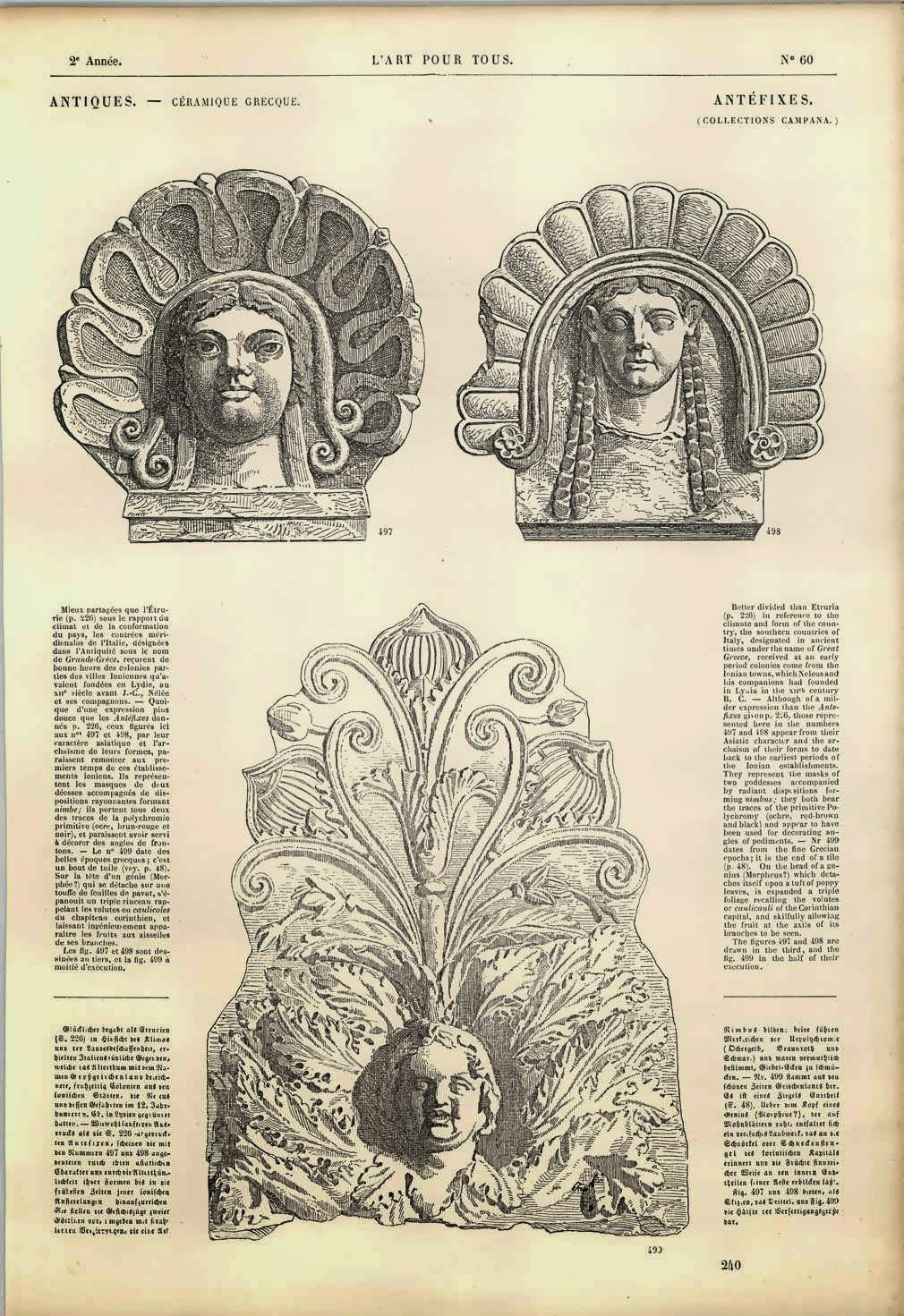Etching: Antefix with Morpheus and foliage From L'Art Pour Tous, 1862.