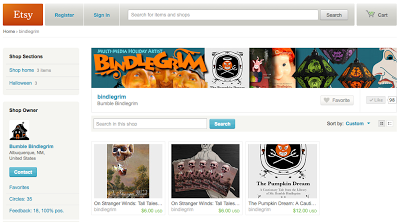 Screen shot of Bindlegrim etsy shop featuring spooky collection of stories with witches, ghosts, veggie people, and talking cats....