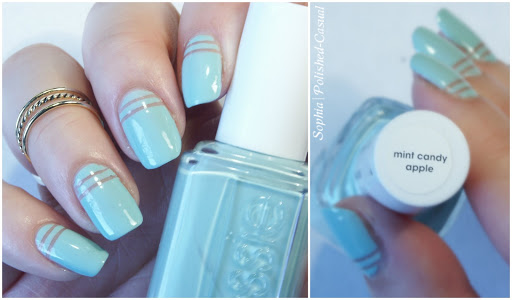 Negative Space Nails with essie mint candy apple