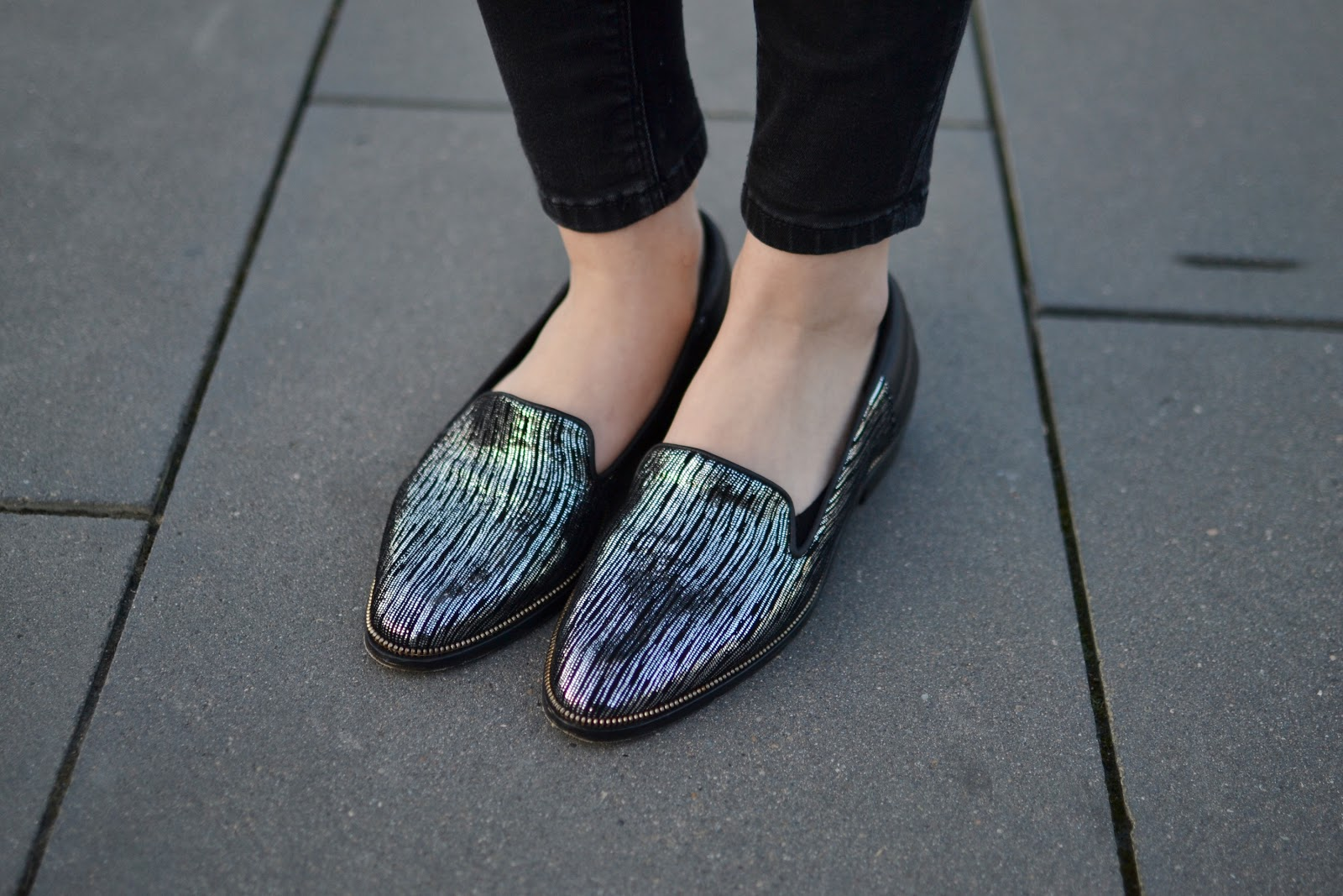 The kooples silver loafers outfit