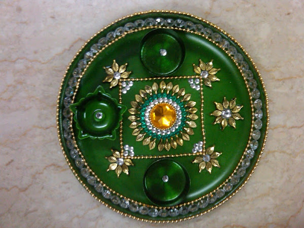 Navratri decoration idea god wallpapers for Aarti thali decoration pictures navratri