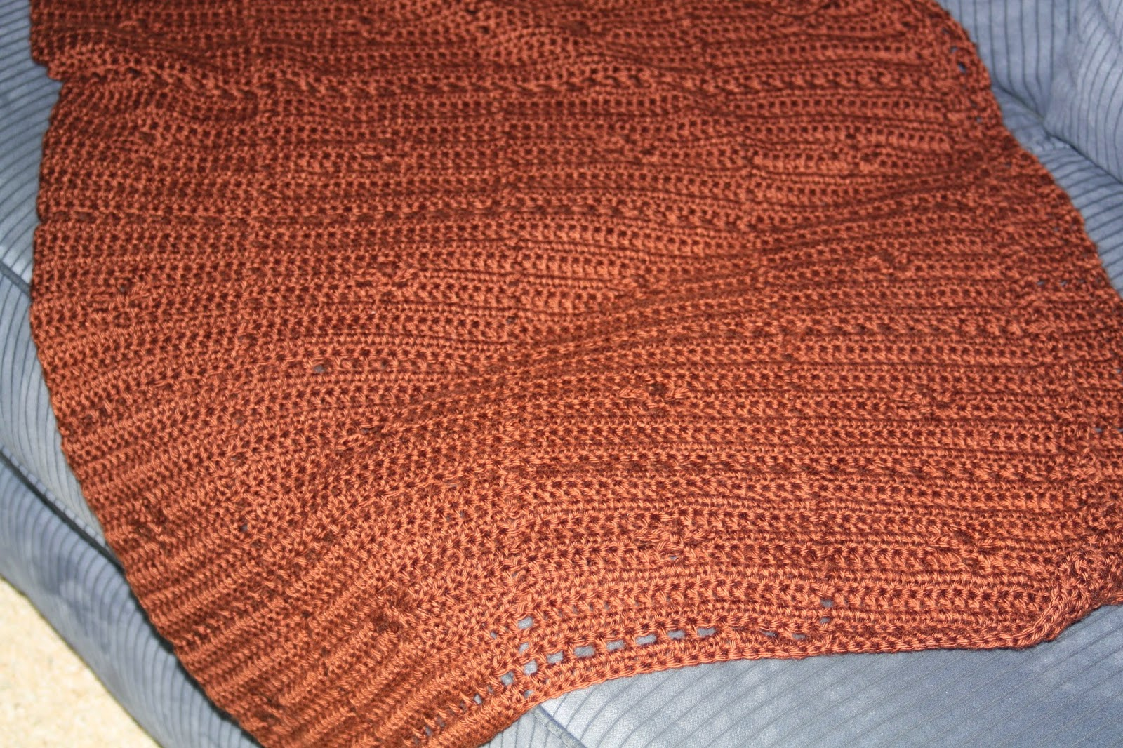 brown crochet blanket