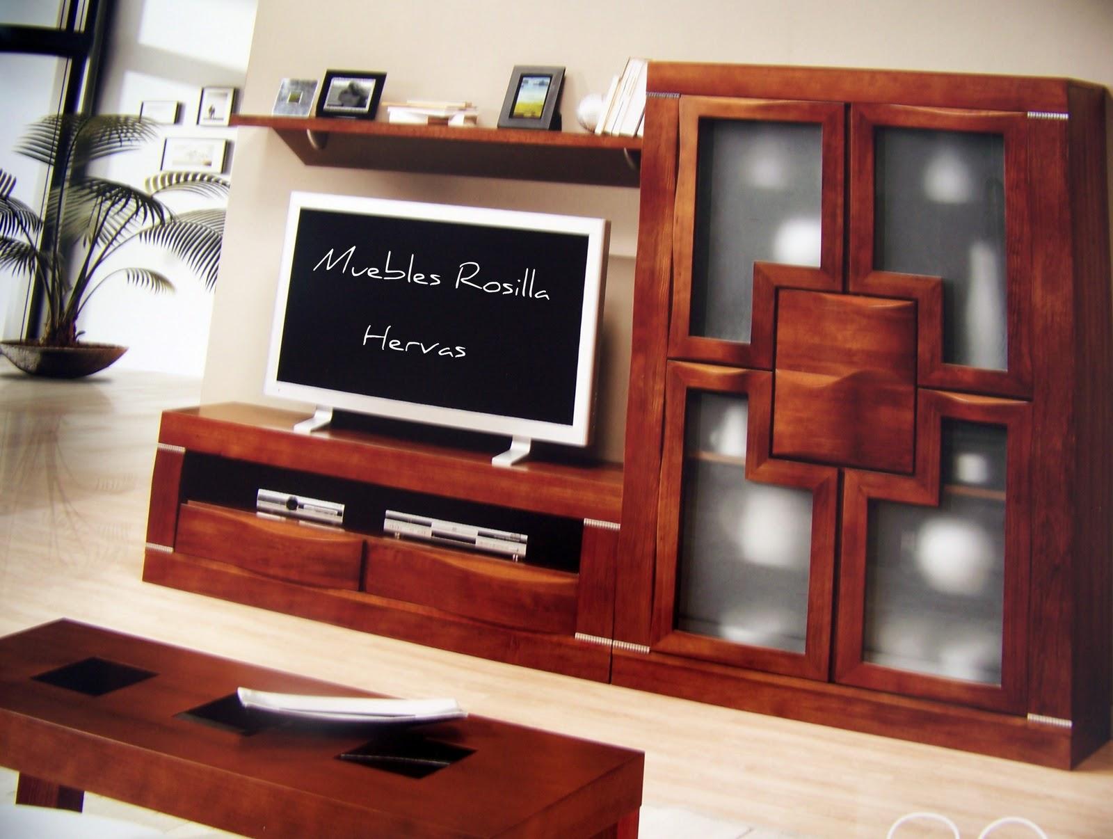 Muebles rosilla herv s vitrina 4 puertas y mesa tv for Muebles hervas