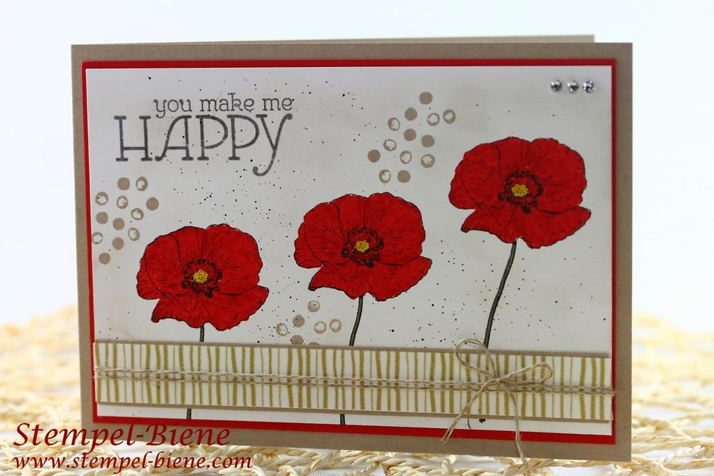 Stampin Up Happy Watercolor; Muttertagskarte; Mohnblumenkarte; Stempelparty; Scrapbooking; Muttertagskarte; Sommerkarte; Stempel-biene; Match the Sketch Challenge 009;