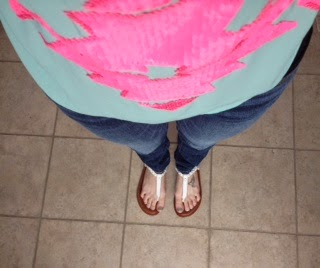 mint and pink aztec print top, skinny jeans, with white sandals, neon pink