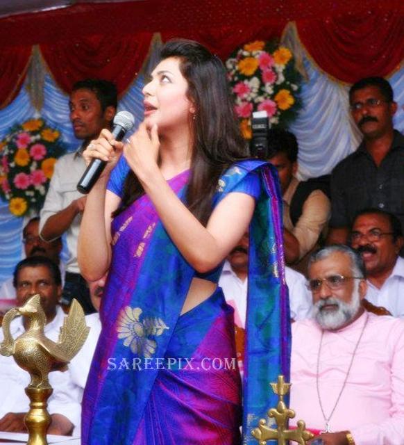 Kajal-agarwal-silk-saree-Karikkineth-silks-inauguration-Kottayam