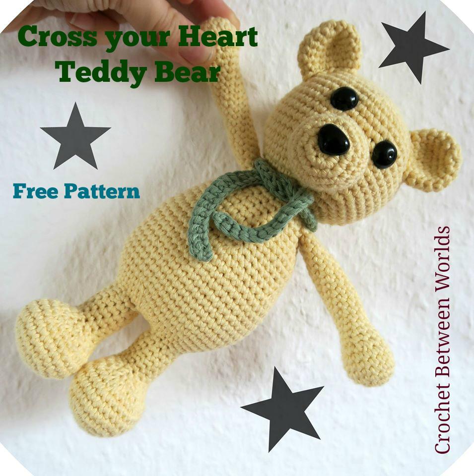 Crochet between worlds: FREE PATTERN: Cross Your Heart Teddy