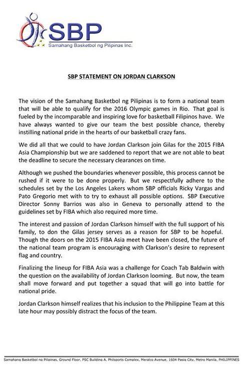 SBP statement Jordan Clarkson
