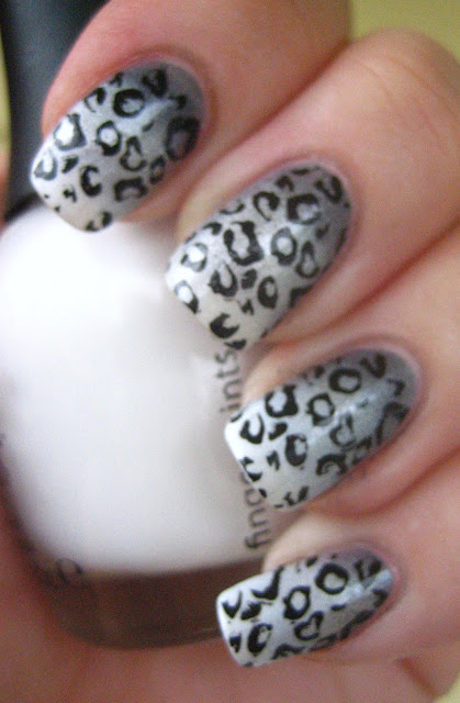 Snow Leopard Manicure Konad Stamping
