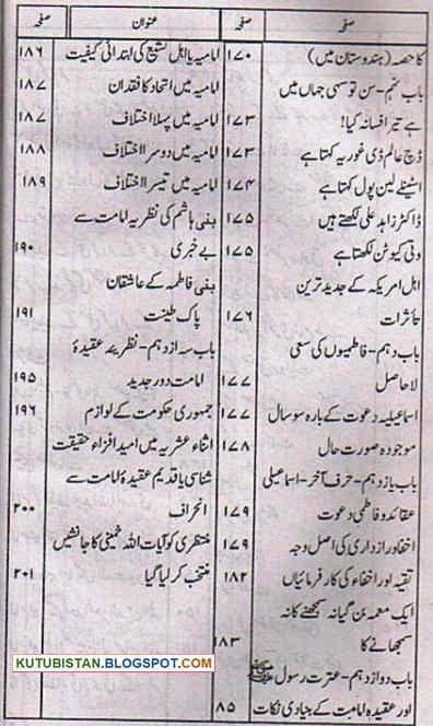 Contents of Ismaeeliya Bohriyon Aur Agha Khaniyon Ka Taruf Pdf Urdu Book