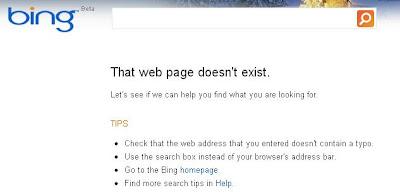 Bing 404 Error Page
