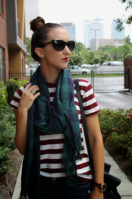 fall fashion, fall style 2014, forever 21 tee shirt, plaid scarf, maroon striped tshirt, j barnd skinny jeans, madewell tote, michael kors tortoise shell watch, maroon lips, high bun, fall style 2014, summer to fall transition fashion