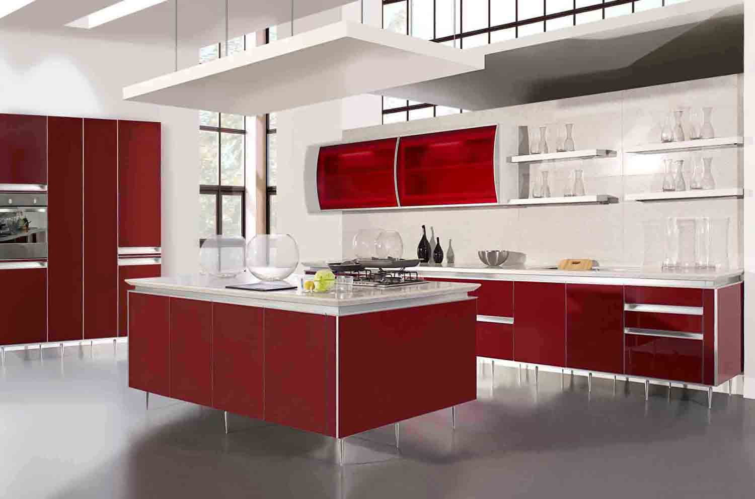Red wallpaper for kitchen free download wallpaper for Luxury kitchen layout