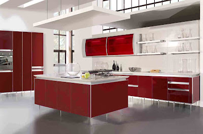 contemporary kitchen design in red with simple lines
