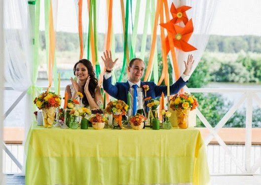 цитрусовая свадьба в ресторане ше веро
