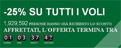 voli low cost sconto Alitalia
