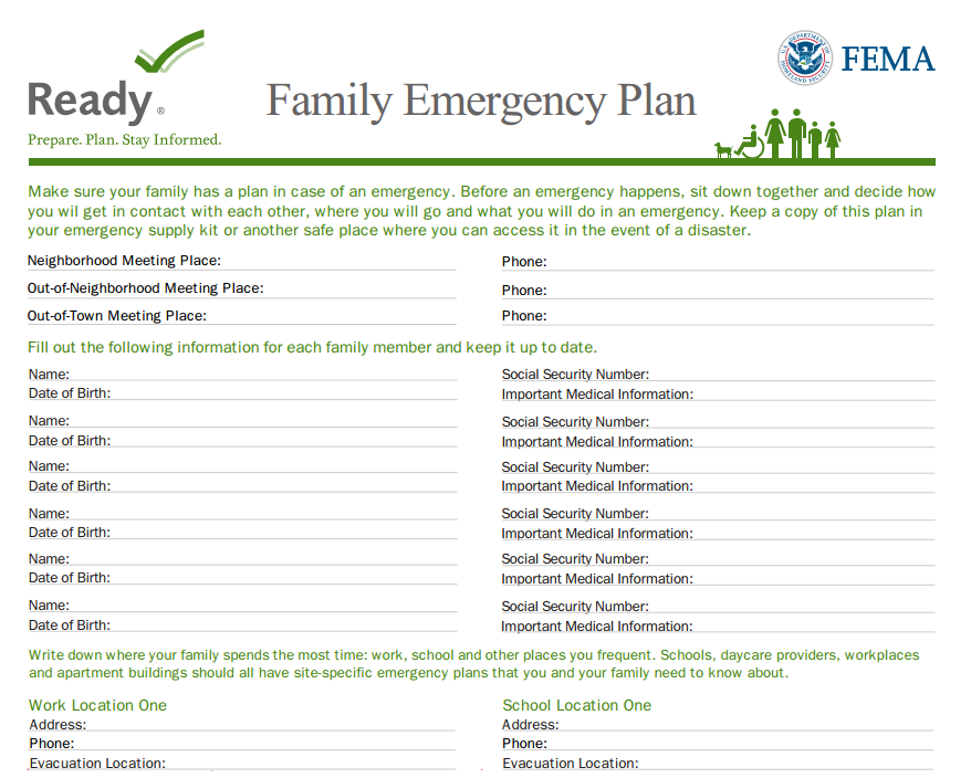 Family Emergency Plan TemplateFamily Emergency Plan Template