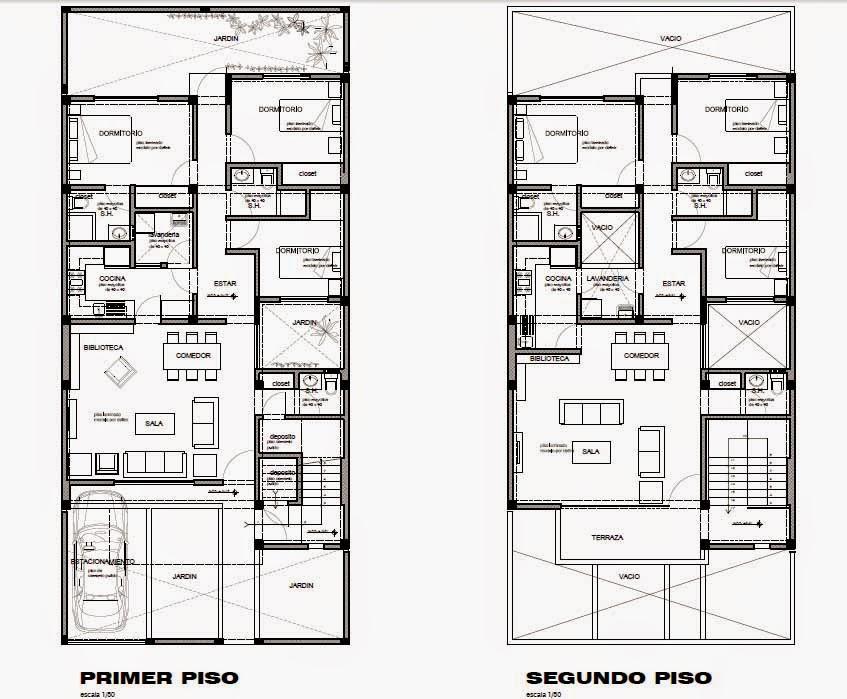 Cristian campos dise o de vivienda bifamiliar en terreno for Casa minimalista 10 x 20