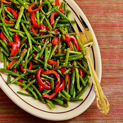 Roasted Green Beans and Red Bell Pepper with Garlic and Ginger found on KalynsKitchen.com
