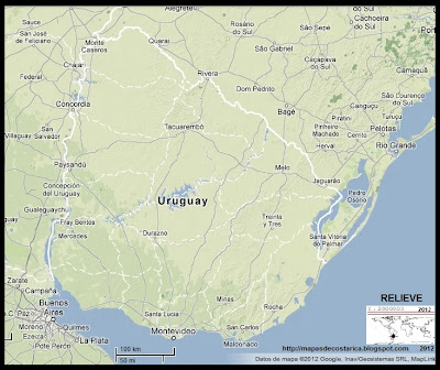 Relieve de URUGUAY, Google Maps