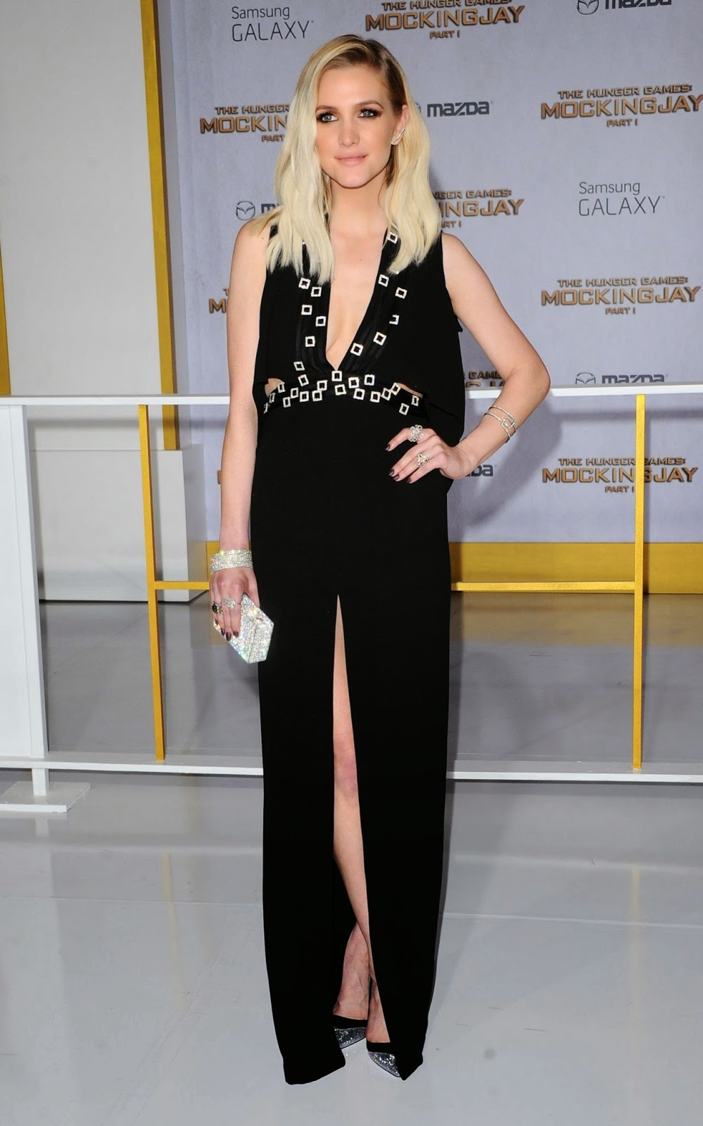 Ashlee Simpson flaunts skin in a thigh slit gown at The Hunger Games: Mockingjay Part 1 LA premiere