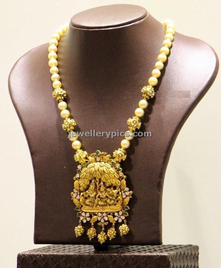 radha krishna temple pendent pearl set