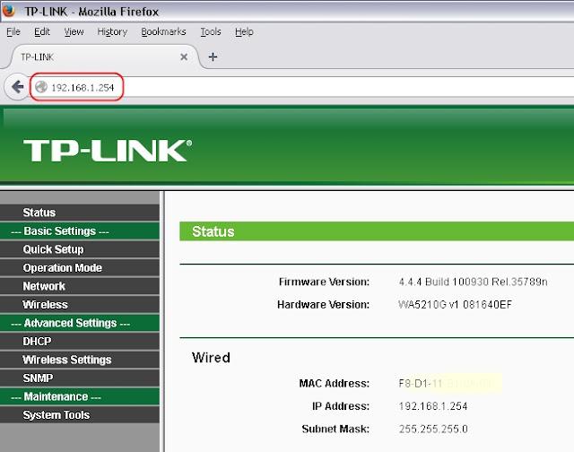 Browsing ke Web GUI TL-WA5210G
