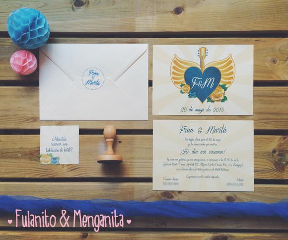 Las invitaciones inspiradas en Bon Jovi de Fran y Marta