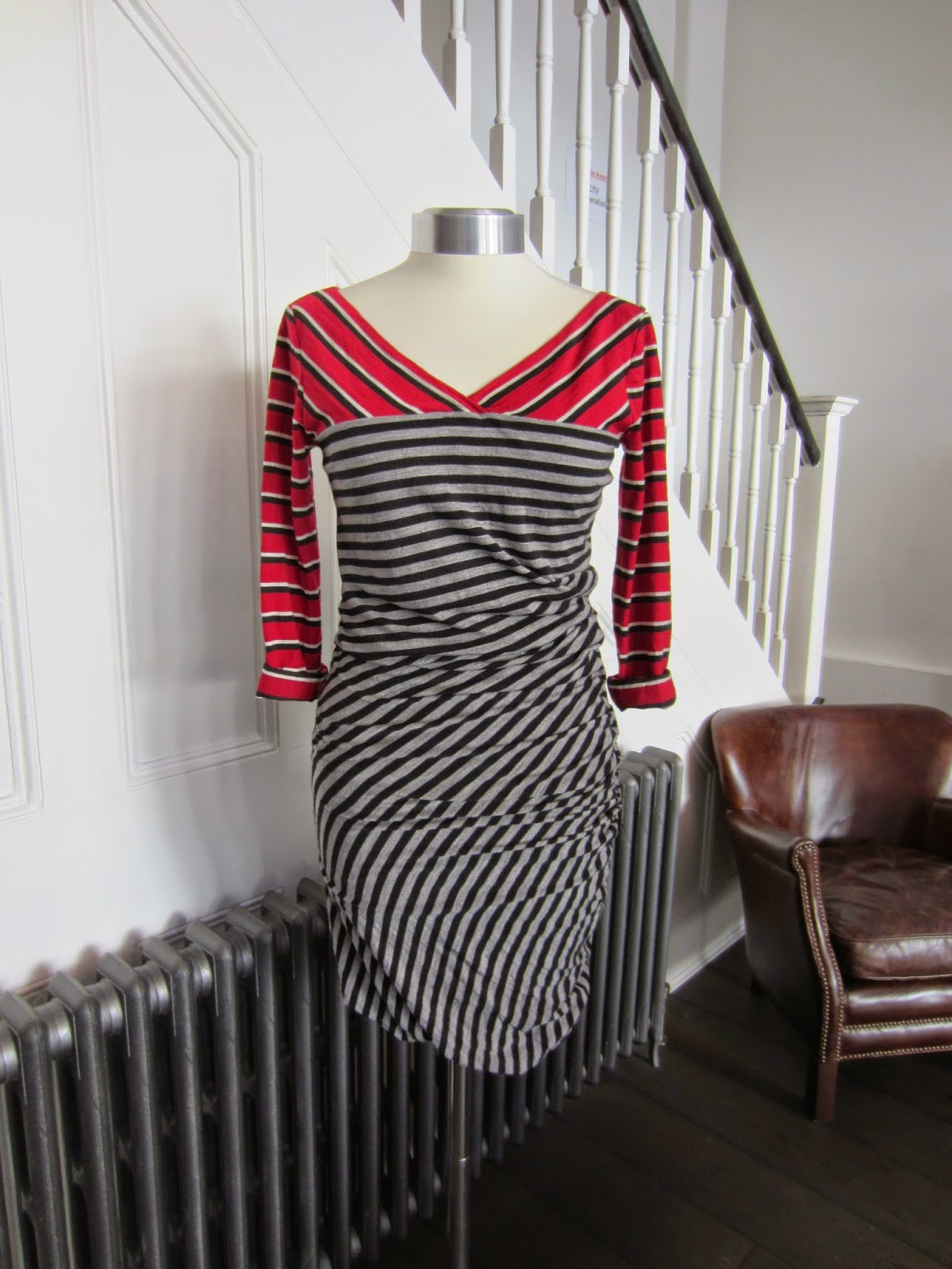 Sportmax Red Black & Grey Striped Dress