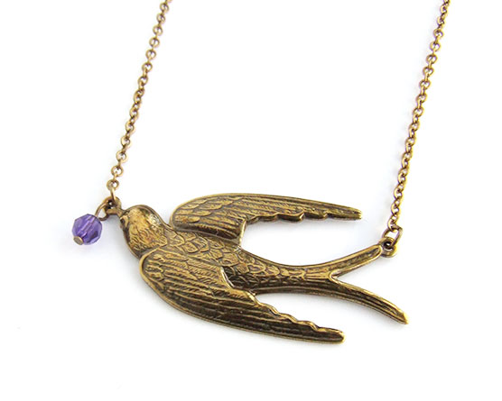 swallow bird necklace antiqued brass by aliquo