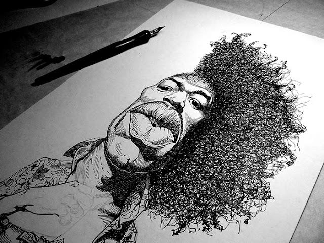 Caricatura de Jimi Hendrix (tinta sobre cartulina)