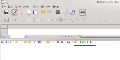 In the SQL edit the LIMIT word has green color.