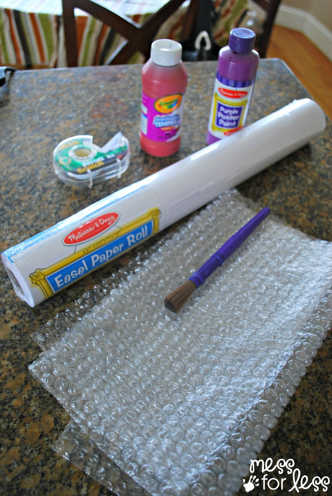 bubble wrap and easel paper