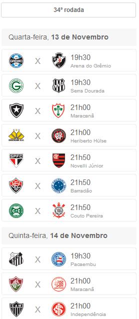 Lista de jogos da 34 rodada do brasileirão