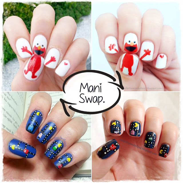Elmo and Pacman Nail Art